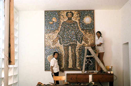 Installation of mosaic mural